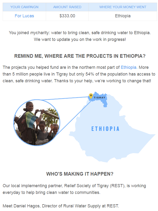 my charity water campaign - Ethiopia